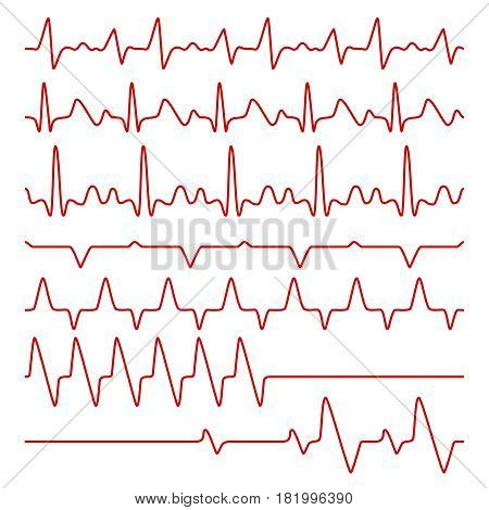 Line vector cardiograms or electrocardiogram on monitor, heartbeat medical symbols. Cardiogram pulse heart, illustration of chart pulse heartbeat