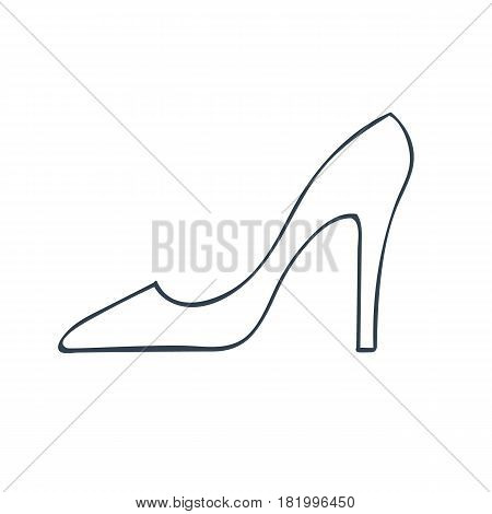 Lady's shoe icon. Hand drawn high heel classic shoe vector illustration.
