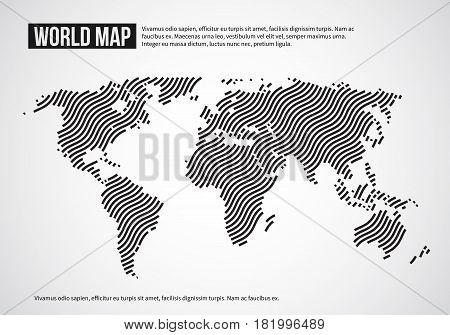World map of wavy lines. Abstract globe continents topography vector infographic background. Design world map, illustration of banner with world continent