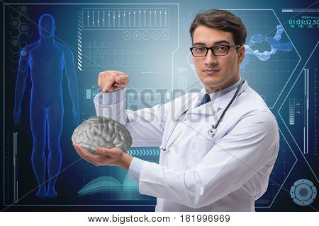 Male doctor with the brain in medical concept