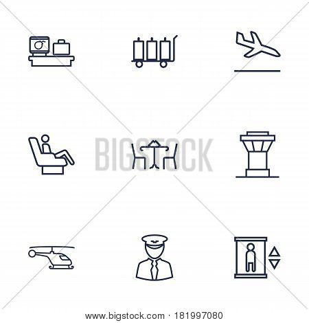 Set Of 9 Airplane Outline Icons Set.Collection Of Helicopter, Sit, Cafe And Other Elements.
