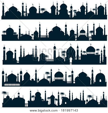 Islamic city skylines with mosque and minaret vector silhouettes arabic architecture. Black silhouette mosque and landmark, illustration of muslim panorama building silhouette city