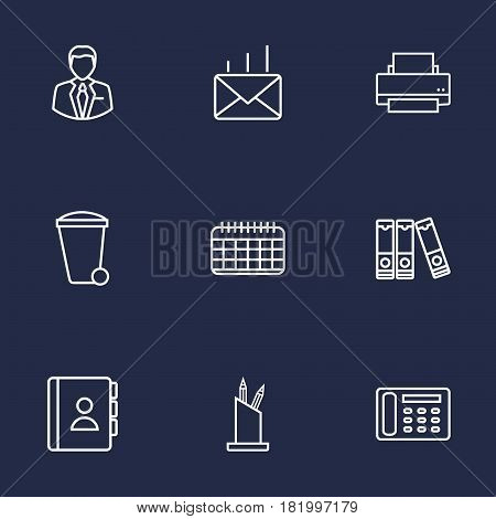 Set Of 9 Service Outline Icons Set.Collection Of Recycle Bin, Telephone Directory, Document Case And Other Elements.