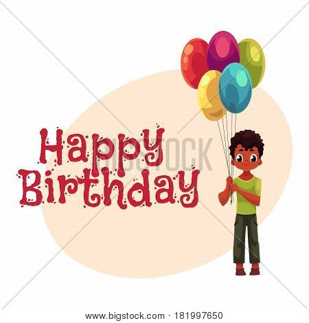 Happy birthday vector greeting card, poster, banner design with Little black, African American boy holding big bunch of birthday balloons. Full length portrait of black, African boy holding balloons
