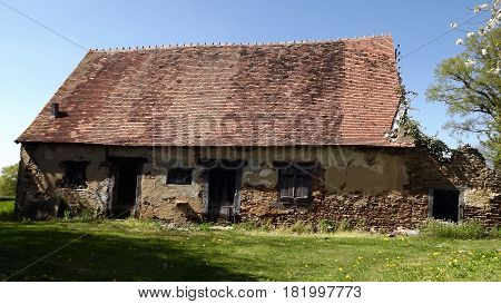 Delapidated country building in rural central France