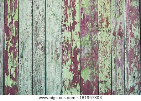Wood planks, green texture, wooden background, fence, green, vinous, dark-red