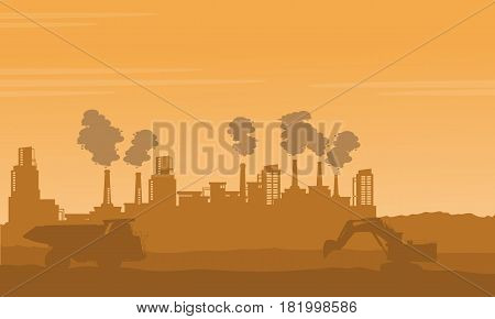 Bad environment pollution industry silhouettes vector art