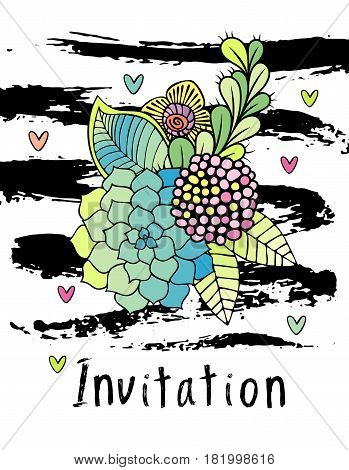 Hand drawn hipster flower invitation card cover, floral vector. Succulent, rose and leaf on white background with brushstrokes