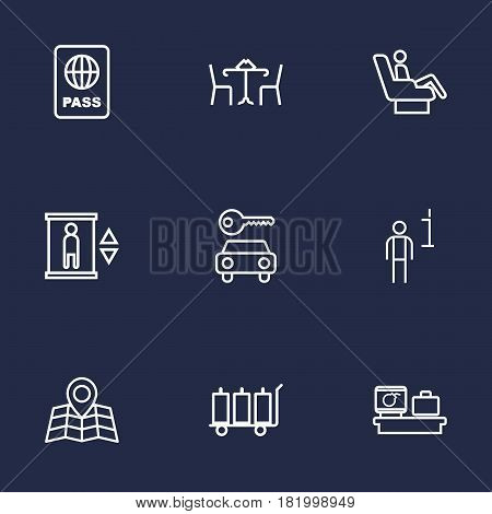 Set Of 9 Aircraft Outline Icons Set.Collection Of Car Rent, Certification, Cafe And Other Elements.
