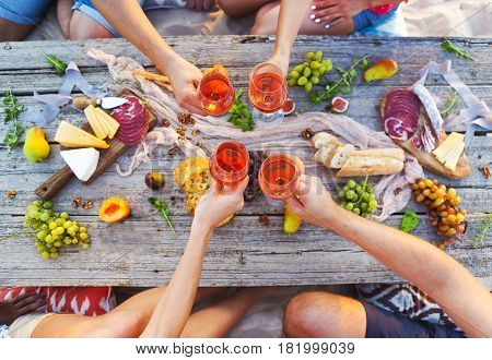Top view beach picnic table. Table close. Beach party