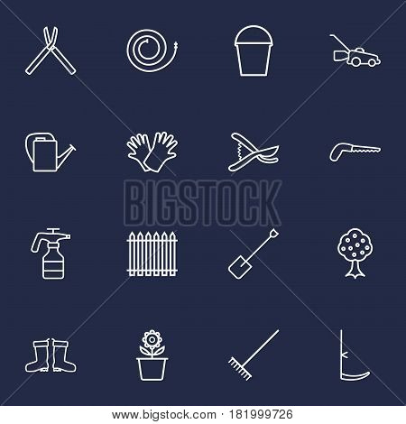 Set Of 16 Household Outline Icons Set.Collection Of Waterproof Shoes, Bailer, Scythe And Other Elements.