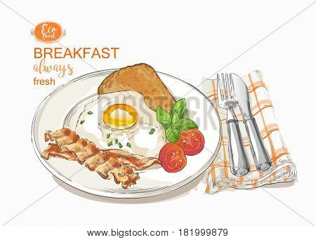 Fried eggs with salad on a plate with knife and fork. Tasty breakfast perfect fried egg. top view. vector illustration isolated on white background.