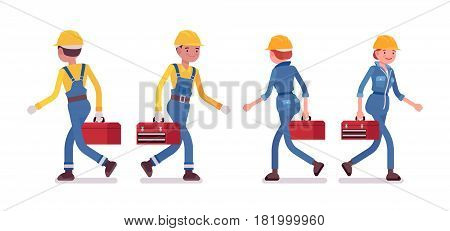 Set of professional busy industrial service worker in walking pose, wearing yellow protective hardhat, blue suit, holding red toolbox, full length, front, rear view, isolated, white background