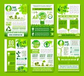 Save Earth vector infographics brochures. Natural sources consumption and green energy use for environment conservation and nature ecosystem protection concept with graphs and diagrams poster