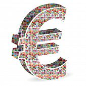 euro currency with world flags poster