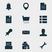 Vector Illustration Of 12 Web Icons. Editable Pack Of Map Pointer, Trolley, Document Directory And Other Elements. poster