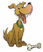 A happy cartoon dog with a bone. poster