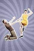 Rock'n'roll dance boogie woogie. Boogie acrobatic stunt in a studio background. Dance for rock-n-roll music. poster