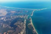 Aerial view on the eastern coast of Long Island. Robert Moses State Park on Fire Island. Typical landscape of islands and beaches. USA poster