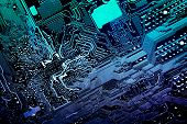 Circuit board. Electronic computer hardware technology. Motherboard digital chip. Tech science background. Integrated communication processor. Information engineering component. poster