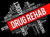 Drug Rehab word cloud collage health concept background poster