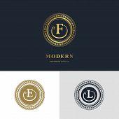 Monogram design elements graceful template. Calligraphic elegant line art logo design. Letter emblem sign F E L for Royalty business card Boutique Hotel Heraldic Jewelry. Vector illustration poster