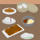 Set of chinese food flat design elements. Asian street food menu. Traditional dish Peking duck, soup huo guo, pork and tofu. Dumplings jiaozi and baozi, noodles and bun. poster