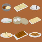 PrintSet of chinese food flat design elements. Asian street food menu. Traditional dish Peking duck, soup huo guo, pork and tofu. Dumplings jiaozi and baozi, noodles and bun poster