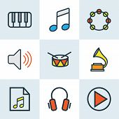 Music Colored Outlines Set. Collection Of Earphones, Gramophone, Volume And Other Elements. Also Includes Symbols Such As Instrument, Barrel, Gadget. poster