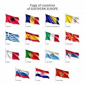 Set of waving flags of European countries: Bosnia-Herzegovina, Croatia and Macedonia, Montenegro and Portugal. 15 ensigns on flagpole of Southern Europe states. Vector isolated icons poster