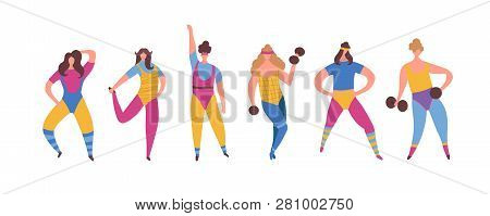 Set Of 80s Years Woman Girl In Aerobics Outfit Doing Workout Shaping With Dumbbells In Hand Isolated