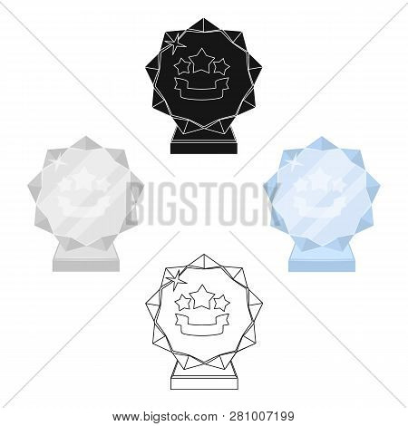 Crystal Trophy In The Shape Of A Star .awards And Trophies Single Icon In Cartoon Style Vector Symbo