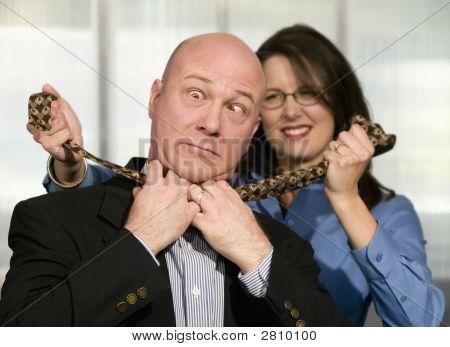 Woman Strangles Coworker