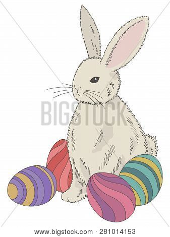 Easter Rabbit With Eggs Graphic Color Isolated Sketch Illustration Vector