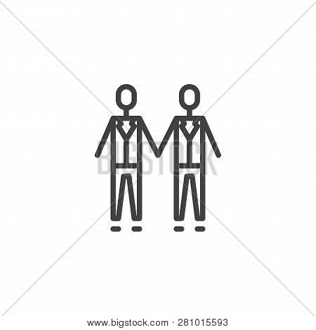 Gay Wedding Couples Holding Hands Line Icon. Linear Style Sign For Mobile Concept And Web Design. Ma