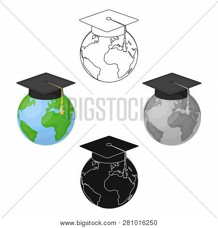 Multilingual Planet Icon In Cartoon Style Isolated On White Background. Interpreter And Translator S