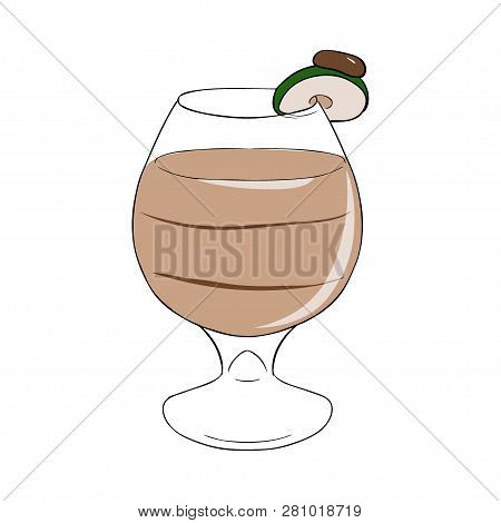 A Cocktail Of Creamy Liqueur With A Layer, Decorated With Apple. Vector Hand Drawn Illustration.