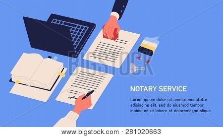 Notary Service Advertisement. Horizontal Web Banner In Blue Color With Hands Witnessing Legal Docume