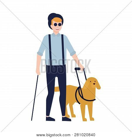 Blind Man And Guide Dog Isolated On White Background. Guy With Blindness, Visual Impairment Or Visio