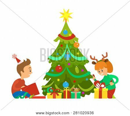 Christmas Holidays, New Years Eve Children Unpacking Gifts Vector. Decorated Evergreen Pine Tree, Bo