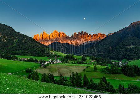 Iconic Dolomites  Mountain Landscape In Santa Maddalena, Funes Valley, Italy