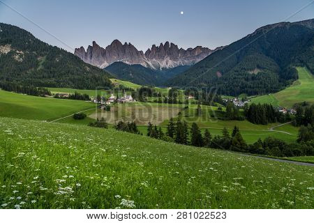 Iconic Dolomites  Mountain Landscape In Santa Maddalena, Funes Valley, Italy At Night.