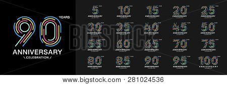 Set Of Anniversary Logotype. Colorful Anniversary Celebration Icons. Design For Company Profile, Boo