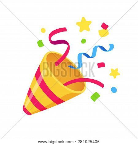Exploding Party Popper With Confetti, Bright Cartoon Birthday Cracker. Isolated Vector Illustration