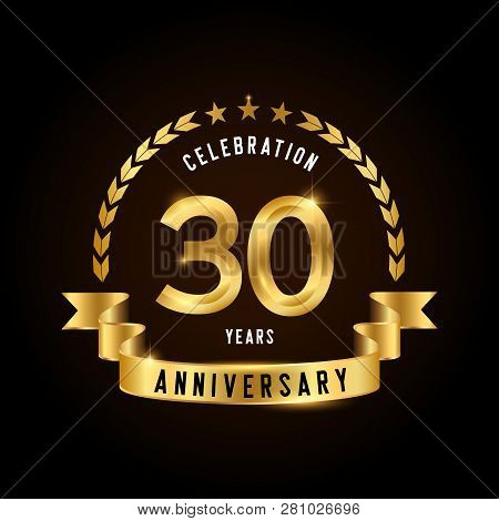 30 Years Anniversary Celebration Logotype. Golden Anniversary Emblem With Ribbon. Design For Booklet