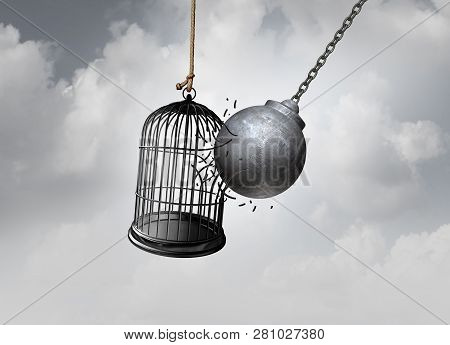 Freedom Cage And Break Free Concept As A Wrecking Ball Liberating A Birdcage Breaking Open A Prison