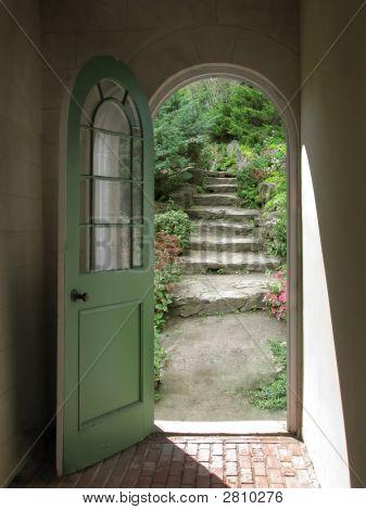 Arched Doorway To Quiet Garden