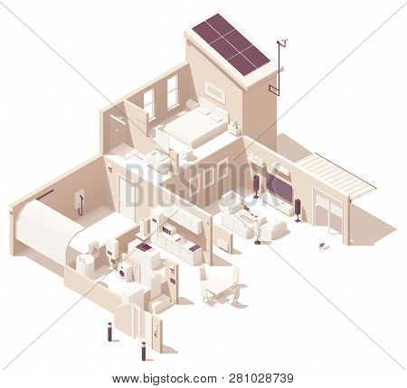 Vector Isometric Smart Home Illustration. House Cross-section, Garage, Kitchen, Living Room, Bedroom