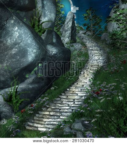 Fantasy Stairs Beside A Rock Leading To A Mysterious Place - 3d Illustration