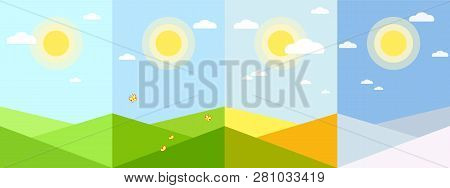 Four Seasons Wallpaper Application Spring Summer Autumn Winter Season Background Geometric Landscape